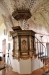 Predikstol från mitten av 1600-talet. Skulpturerna tillkom 1738 gm bildhuggare Anders Ekberg
