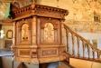 Mycket vacker predikstol i ek och intarsia. Skänkt 1663 av Per Brahe d.y.