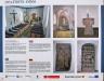 Presentation av kyrkan med tillhörande bilder vid kyrkporten.