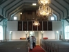 Interiör mot orgelläktaren. Orgeln är bara en fasad.