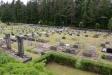 Vy över kyrkogården från parkeringsplatsen juni 2016.